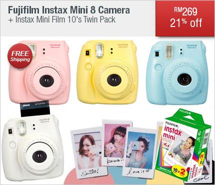 Fujifilm Instax Mini 8 Camera + Instax Mini Film 10's Twin Pack