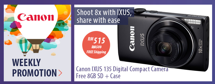 Canon IXUS 135 Digital Compact Camera Free 8GB SD + Case
