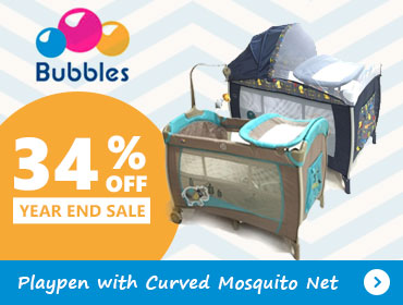 34% Off Bubbles Playpen with Curved Mosquito Net