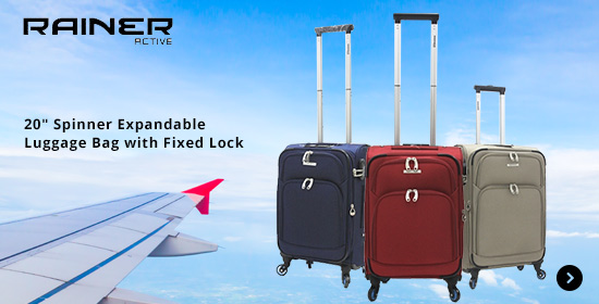 Rainer Active 20 Spinner Expandable Luggage Bag with Fixed Lock