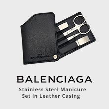 Balenciaga Stainless Steel Manicure Set in Leather Casing