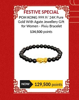 POH KONG 999.9/ 24K Pure Gold With Agate Jewellery Gift for Women - Pixiu Bracelet