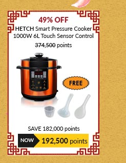 Hetch Smart Pressure Cooker 1000W 6L Capacity Touch Sensor Control - PSC-1603-HC with FREE Spoon and Cup
