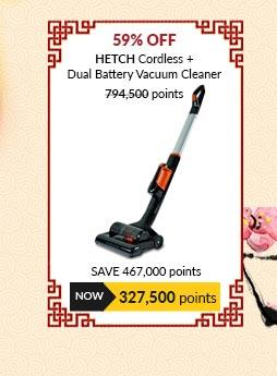 HETCH Cordless + Dual Battery Vacuum Cleaner Black - CVC-1407-HC + CVC1407HC-4A