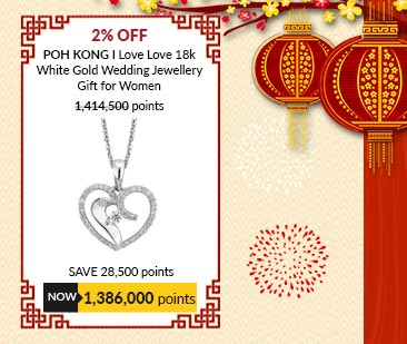 Poh Kong I Love Love 18k White Gold Wedding Jewellery Gift for Women - 328474
