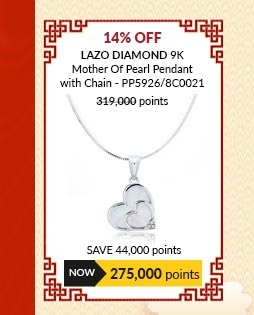Lazo Diamond 9K Mother Of Pearl Pendant with Chain - PP5926/8C0021