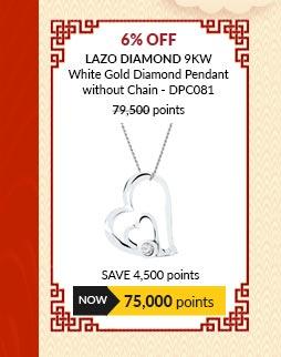 Lazo Diamond 9KW White Gold Diamond Pendant without Chain - DPC081