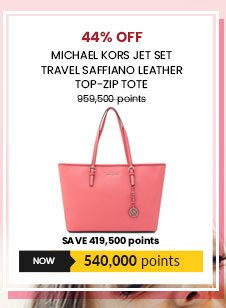 Michael Kors Jet Set Travel Saffiano Leather Top-Zip Tote in Coral