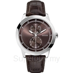 Guess W75065G2 Gents Dress Brown Leather Day Date Watch