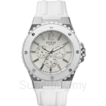 Guess W10603G1 Gents Sport White Silicone Strap Multifunction Watch