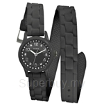 Guess W65023L2 Ladies Sport Extra Long Black Silicone Strap Watch