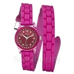 Guess W65023L3 Ladies Sport Extra Long Pink Silicone Strap Watch