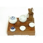 Red Leaf Ceramic Tea Pot Set - Blue Line