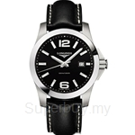 Longines Gents Conquest Black Leather Quartz Watch - L3.659.4.56.3