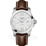Longines Gents Conquest Brown Leather Quartz Watch - L3.659.4.76.5