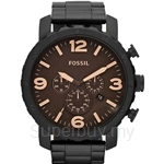 Fossil Men's Black Stainless Steel Chronograph Watch - JR1356