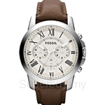 Fossil Men's Grant Brown Leather Chronograph Watch - FS4735