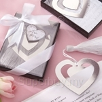 Silver Heart Shaped Bookmark Wedding Favors