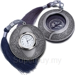 Tumasek Pewter Qibla Compass and Clock Revo Design - 7290