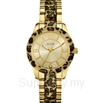 Guess W0014L2 Ladies Sporty Gold Tone Leopard Print Watch