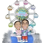 Q-Family - Ferris Wheel Couple Mini Figurine