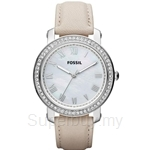 Fossil Women's Emma Beige Leather Strap Crystals Watch - ES3189