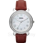 Fossil Women's Emma Red Leather Strap Crystals Watch - ES3190