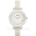 Fossil Heather Mid-Size Pearlized White Resin Watch - JR1409