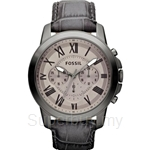 Fossil Men's Grant Grey Leather Chronograph Watch - FS4766