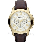 Fossil Men's Grant Gold-Tone Brown Leather Chronograph Watch - FS4767