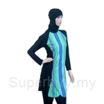 Al Ikhwah Slim Fit Full Cover Swimsuit (Baju Renang Muslimah) Sporty Green Blue