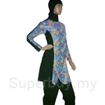 Al Ikhwah Slim Fit Full Cover Swimsuit (Baju Renang Muslimah) Sporty Flower