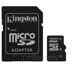 32GB Kingston Micro SDHC Class 10 (With Adapter)
