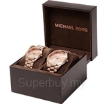 Michael Kors MK3205 Rose Gold Tone Couple Set Watch