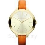 Michael Kors MK2275 Women's Slim Runway Yellow Gold Plated and Orange Leather Watch