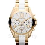 Michael Kors MK5743 Women's Yellow Gold Plated and White Resin Chronograph Watch