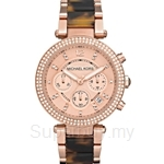 Michael Kors MK5538 Women's Rose Gold Plated and Tortoise Acetate Parker Chronograph Glitz Watch