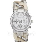 Michael Kors MK4263 Women's Beige Acrylic Steel Chain-link Bracelet Chronograph Watch