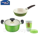 Lock & Lock Cookplus Ceramic 20Cm Casserole and Frying Pan - LCA220-2B-3B-IH