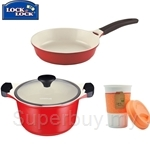 Lock & Lock Cookplus Ceramic 24Cm Stock Pot and Frying Pan - LCA22-44B-43B-IH