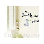 IR Animal Wall Deco Sticker - Bird Cage & Tree (50cmx70cm)