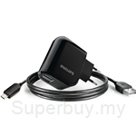 Philips Ultra-Fast Wall Charger with Two USB Ports 2.1A with 1 Micro USB Cable - DLP2207U