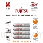 Fujitsu AAA 800mAh 4Pcs 2100 Times Cycle Rechargeable Batteries