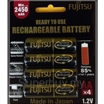 Fujitsu AA 2550mAh 4Pcs 500 Times Cycle Rechargeable Batteries