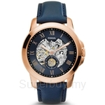 Fossil ME3054 Men's Grant Three-Hand Automatic Navy Leather Watch
