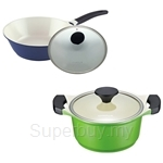 Lock & Lock 30cm Cookplus Ceramic Wok with Glass Lid + 20cm Cookplus Ceramic Casserole