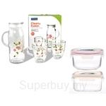 Glasslock 1200ml Water Jar W 2pcs 375ml Mugs + 2pcs Container Set