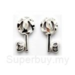Poh Kong Stylish Key White Gold Stud Earrings - 563461