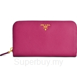 Prada Saffiano Zipped Wallet Ibisco - 1M0506