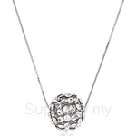 Kelvin Gems Glam Big Silver Diva Ball Pendant Necklace
